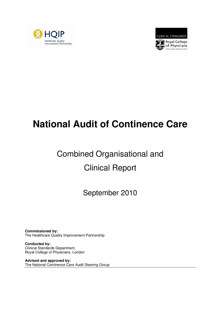 National Audit of Continence Care: Reports from 2010 & 2012
