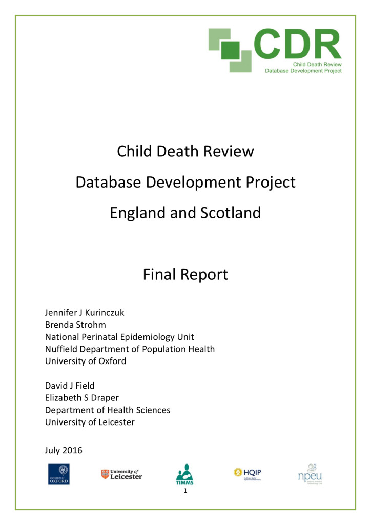 Report: Feasibility for developing a child death review database