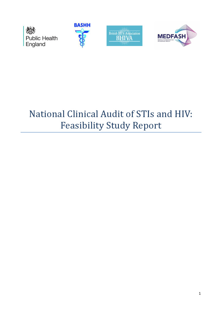 Report: HIV and STI feasibility study