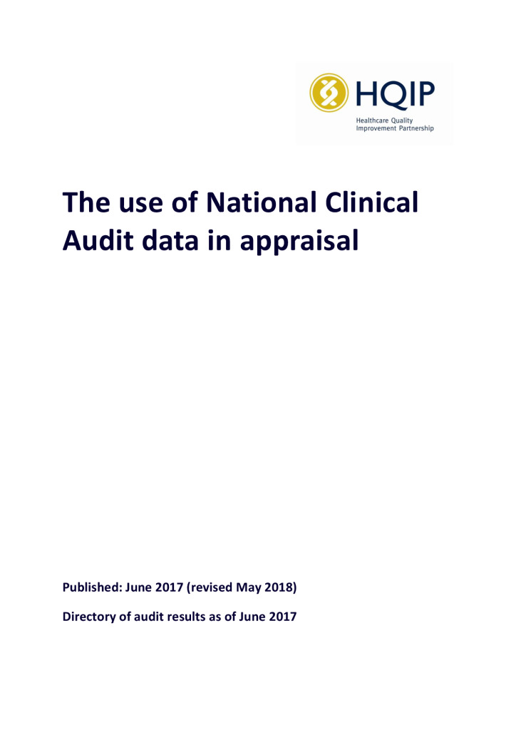 The use of National Clinical Audit data in appraisal