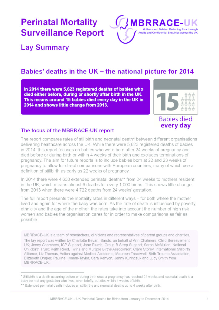 Lay summary: perinatal mortality surveillance report