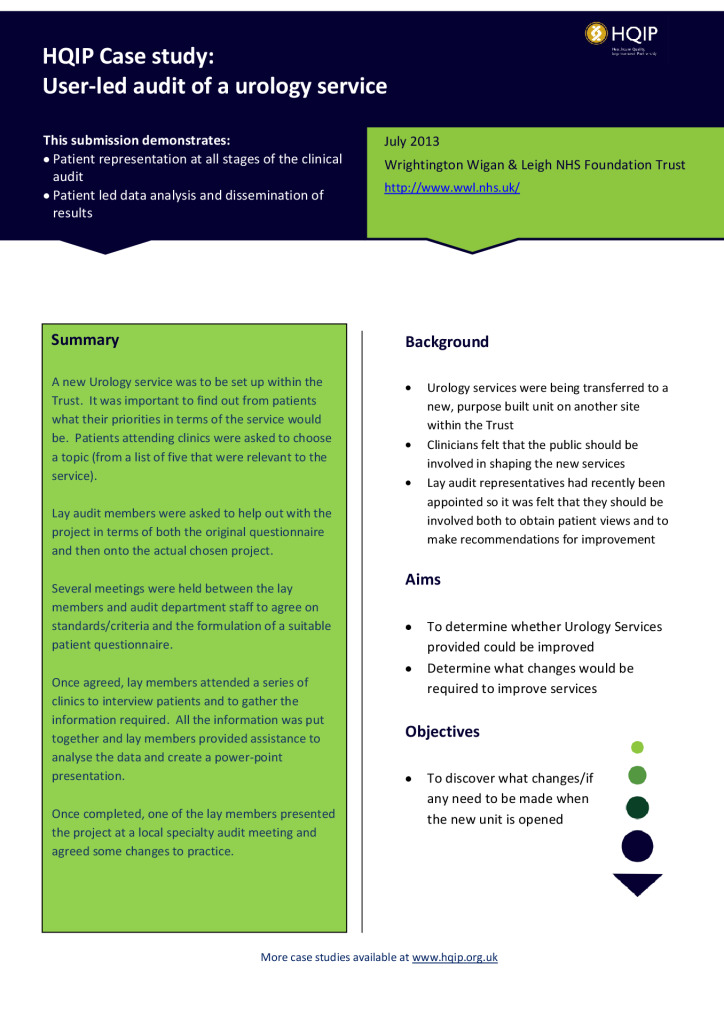 Case study: user-led audit of a urology service