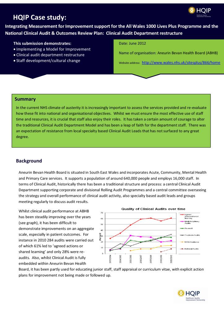 Case study: measuring improvement (Welsh 1000 Lives-Plus Programme and NCA restructure)
