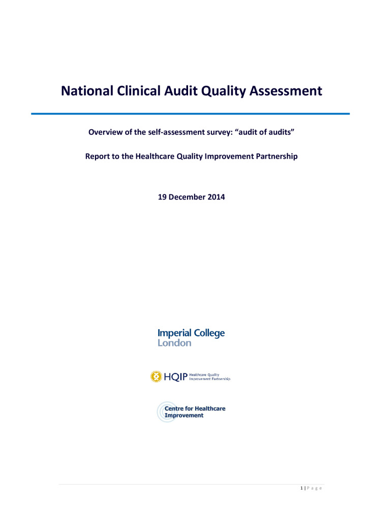 Audit of clinical audits national report