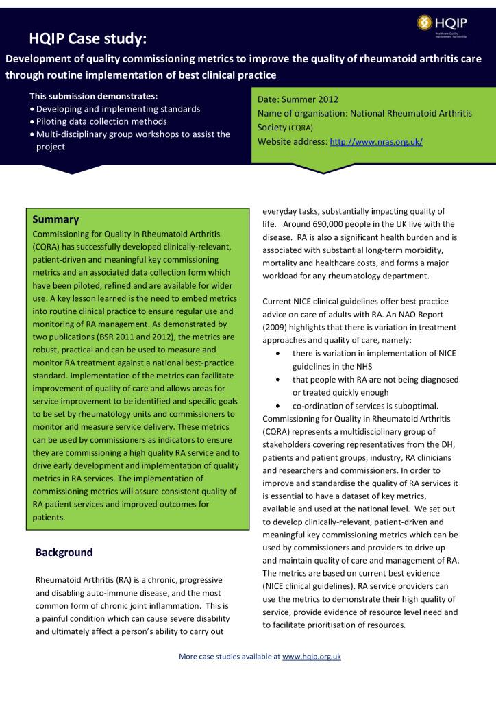 Case study: Developing quality commissioning metrics to improve the quality of rheumatoid arthritis care