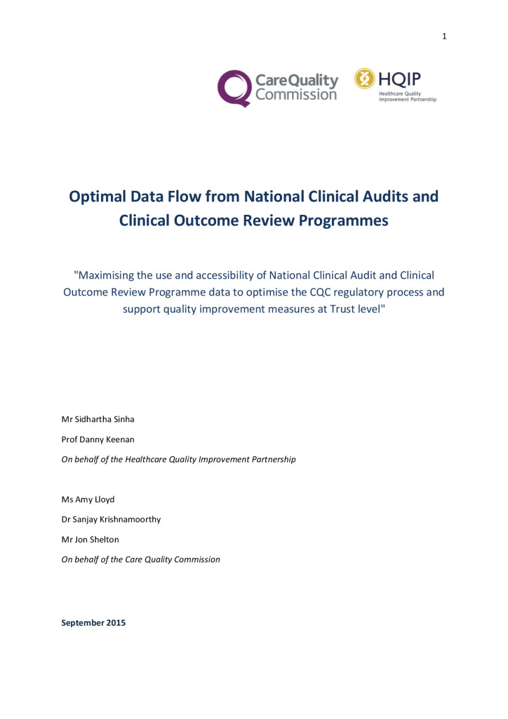 Maximising NCAPOP data for CQC inspections: Optimal data flow
