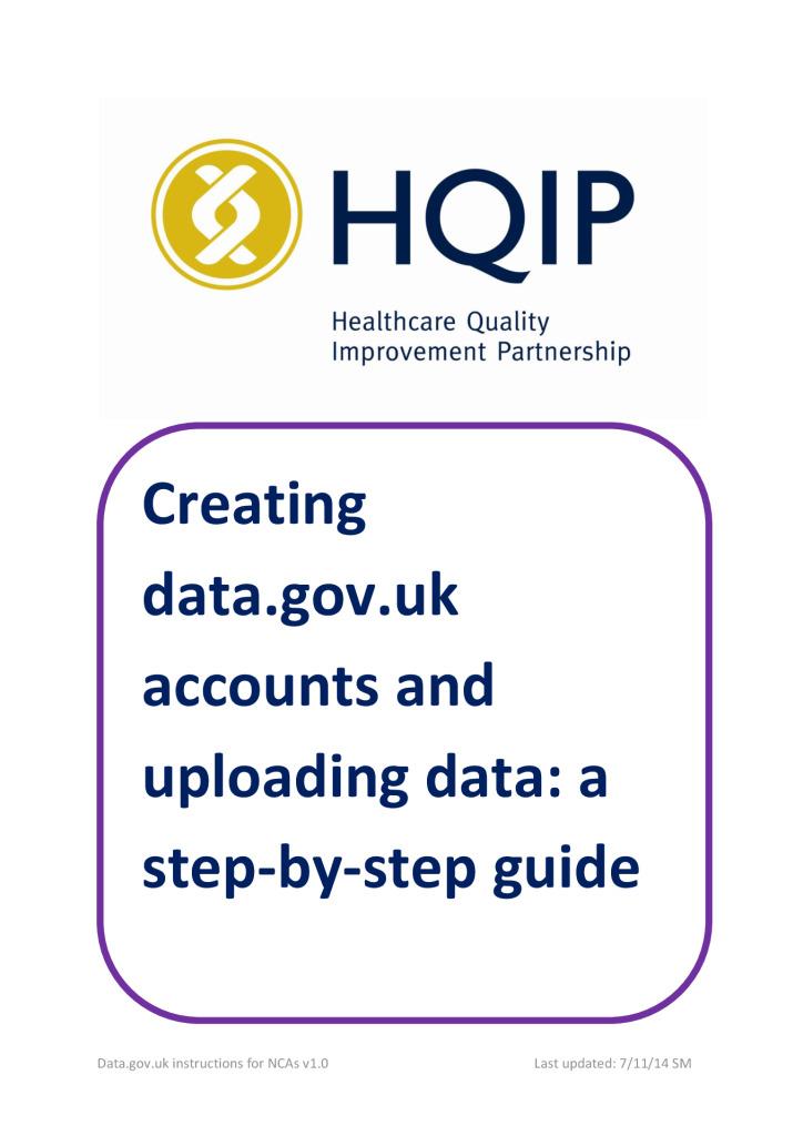Creating data.gov.uk accounts and uploading data