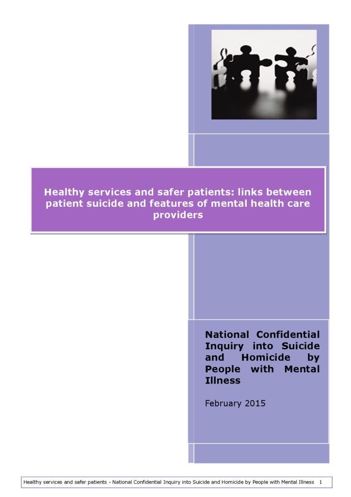 Healthy services and safer patients: links between patient suicide and features of mental health care providers