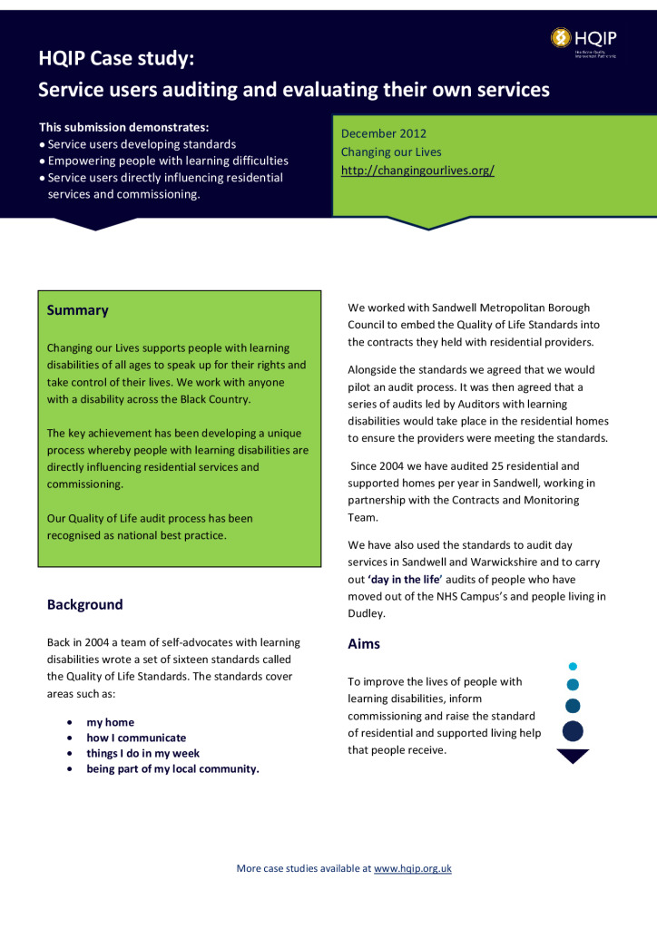 Case study: service users auditing and evaluating their own services