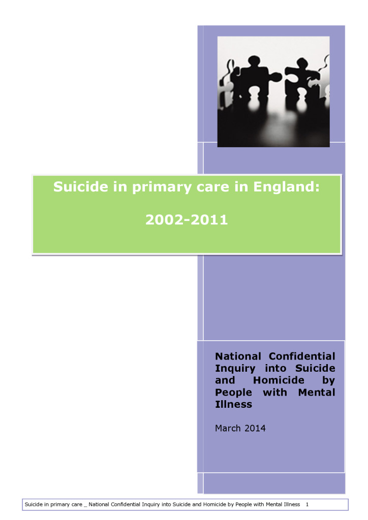 Suicide in primary care in England report