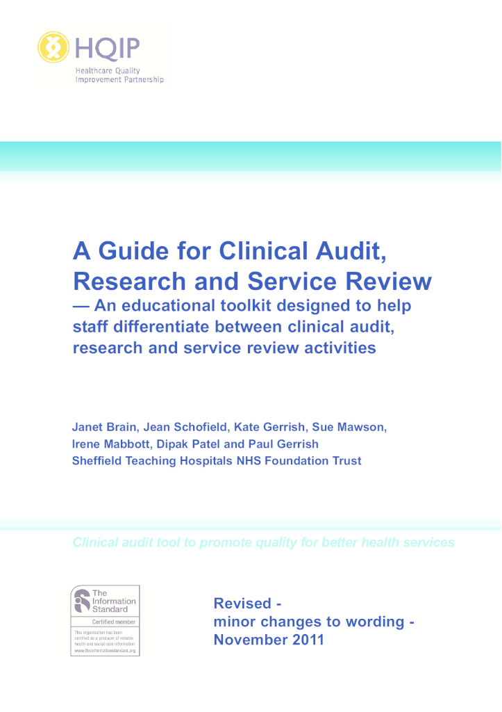 HQIP guide for clinical audit, research and service review