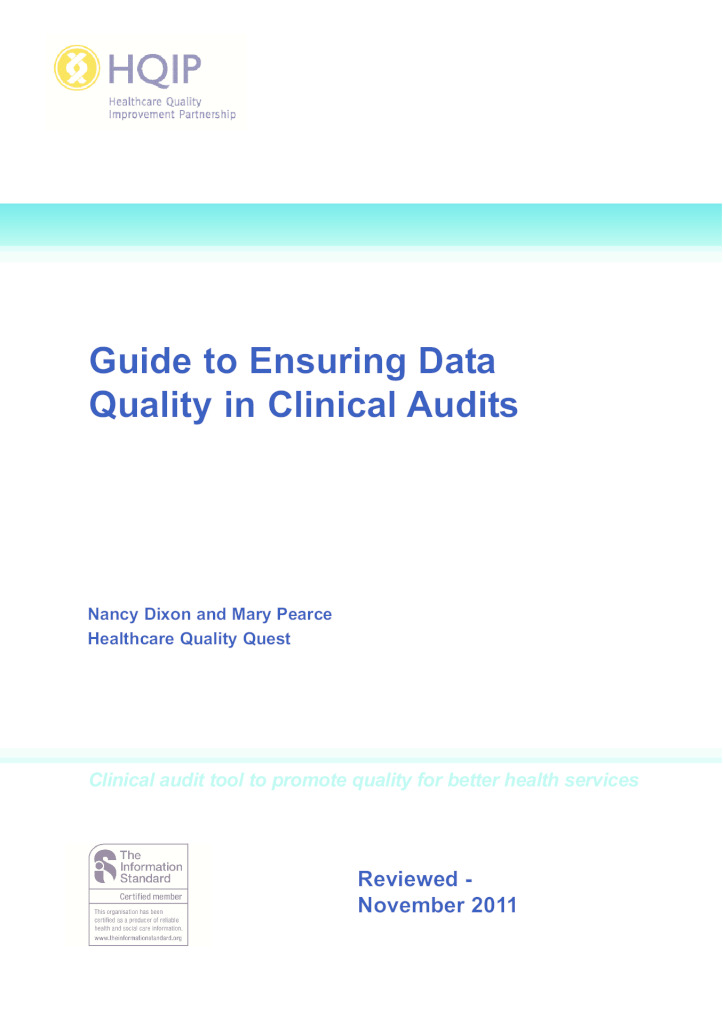 HQIP guide to ensuring data quality in clinical audits