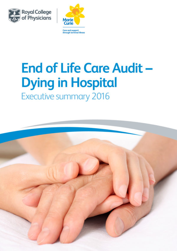 thumbnail of End of life care audit – dying in hospital executive summary 2016