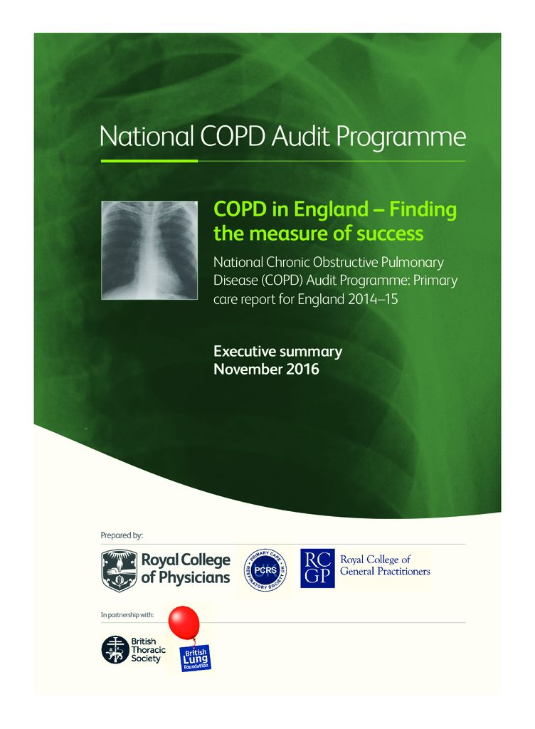 Executive Summary: National Chronic Obstructive Pulmonary Disease (COPD) Audit Programme: Primary care report for England 2014–15
