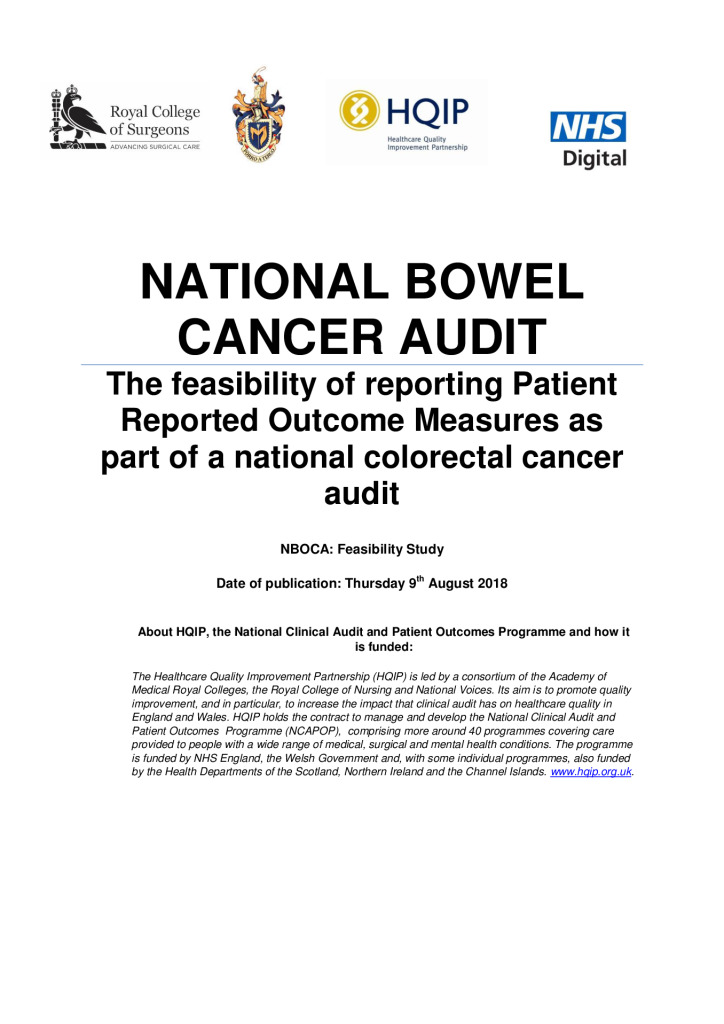 National Bowel Cancer Audit: The feasibility of reporting patient outcome measures…