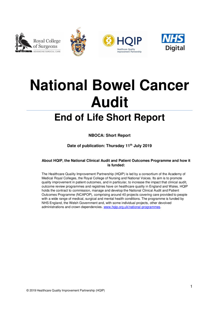 National Bowel Cancer Audit Short Report – End of Life