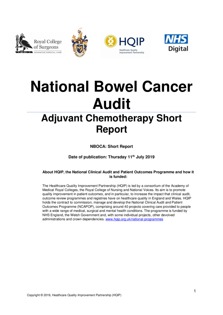National Bowel Cancer Audit Short Report Adjuvant Chemotherapy Hqip