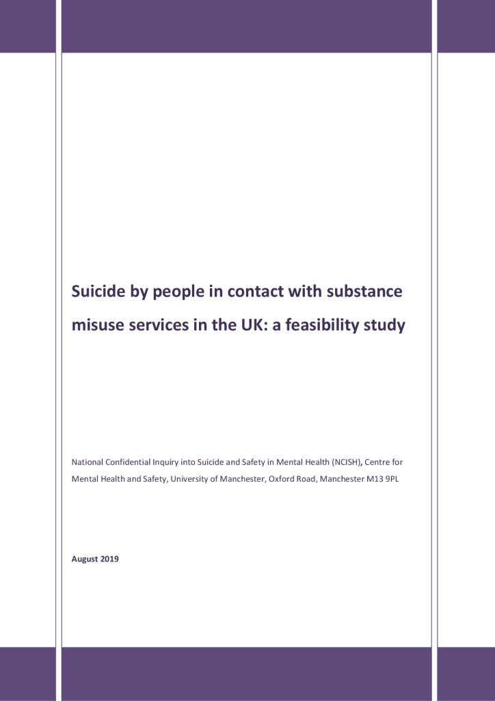 Suicide by people in contact with substance misuse services in the UK: a feasibility study