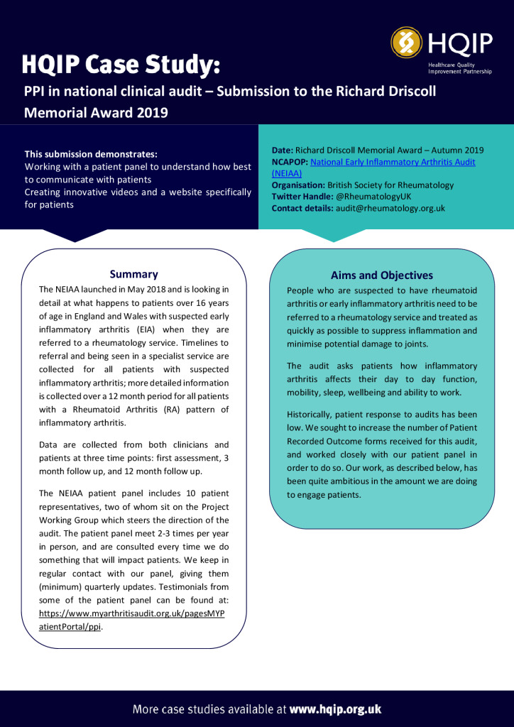 Case Study – National Early Inflammatory Arthritis Audit (NEIAA)