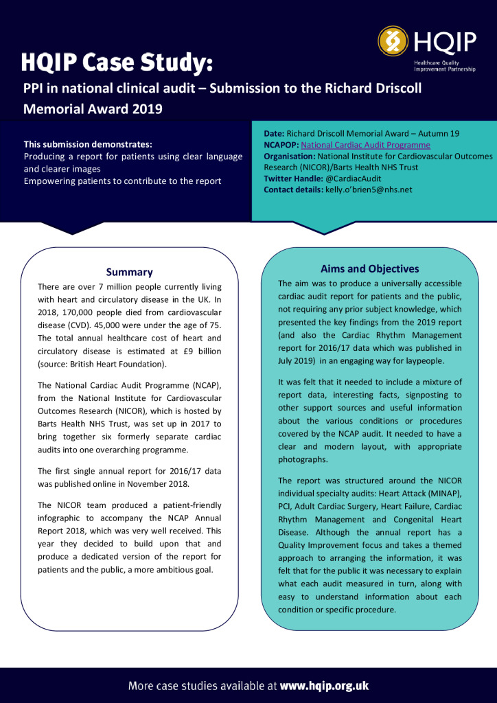 Case Study – National Cardiac Audit Programme (NCAP)