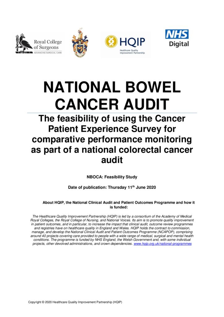 National Bowel Cancer Audit: Short Report – Patient Reported Experience Measures