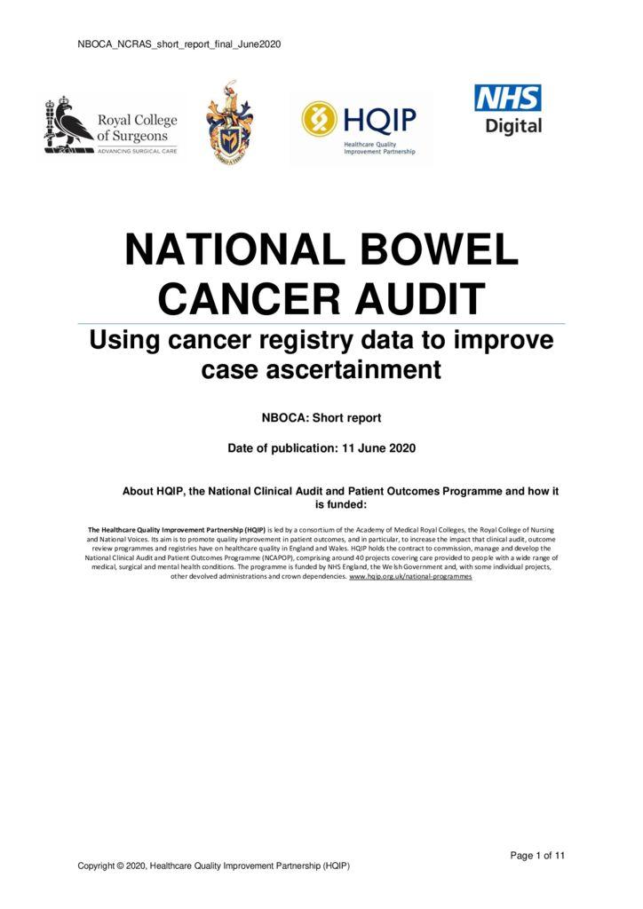National Bowel Cancer Audit: Short Report – Cancer registry data
