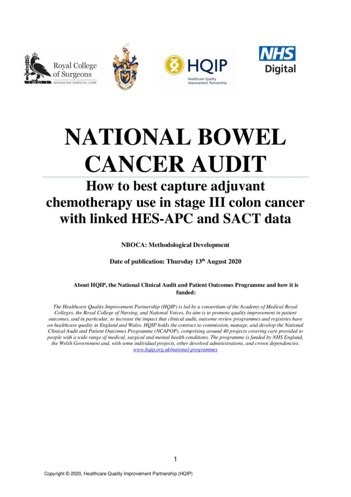 National Bowel Cancer Audit – adjuvant chemotherapy use in stage III colon cancer short report