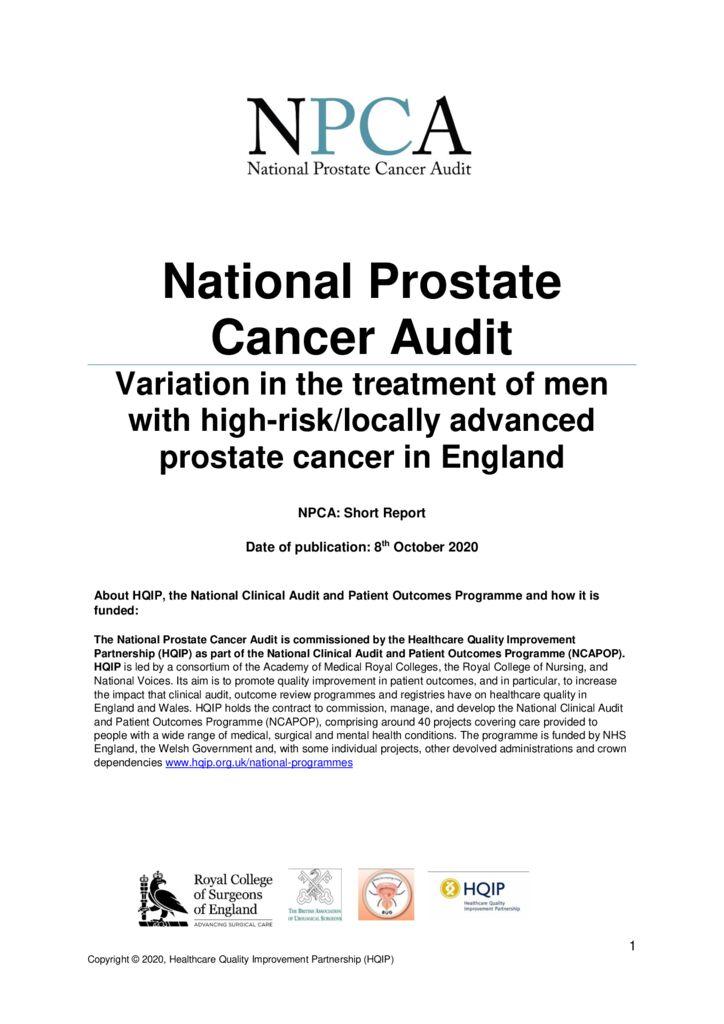 National Prostate Cancer Audit: Short Report 2020