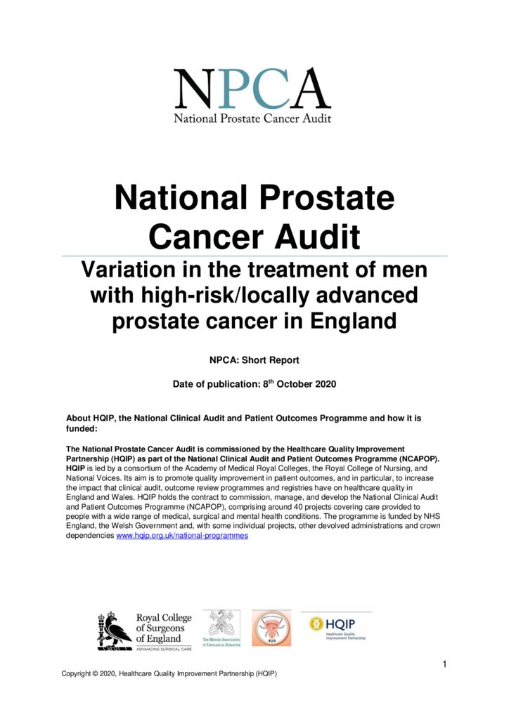National Prostate Cancer Audit: Short Report 2020