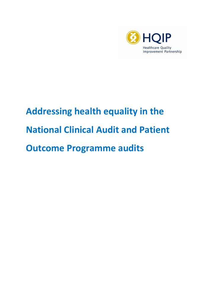 Addressing Health Equality in the National Clinical Audit and Patient Outcomes Programme (NCAPOP) audits