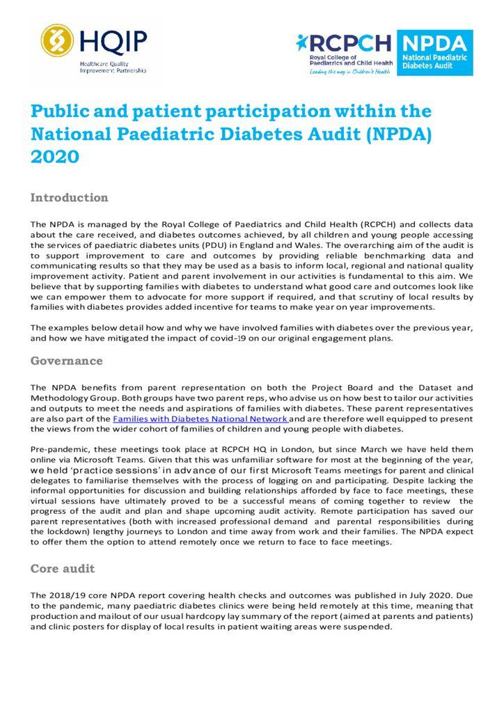 National Paediatric Diabetes Audit – RDMA20 Case Study