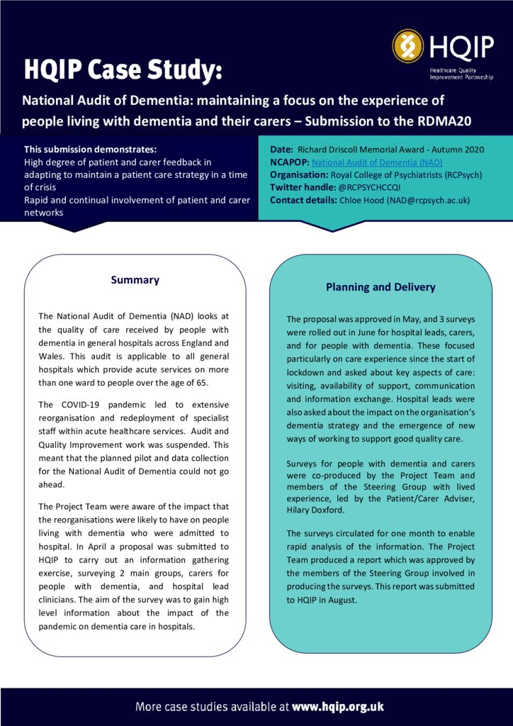 National Audit of Dementia – RDMA20 Case Study